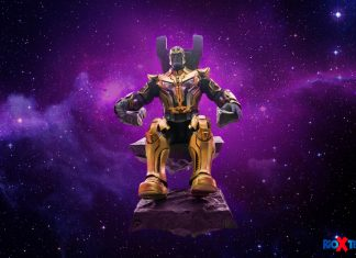 Hot Toys Thanos Guardian of the Galaxy sit in throne