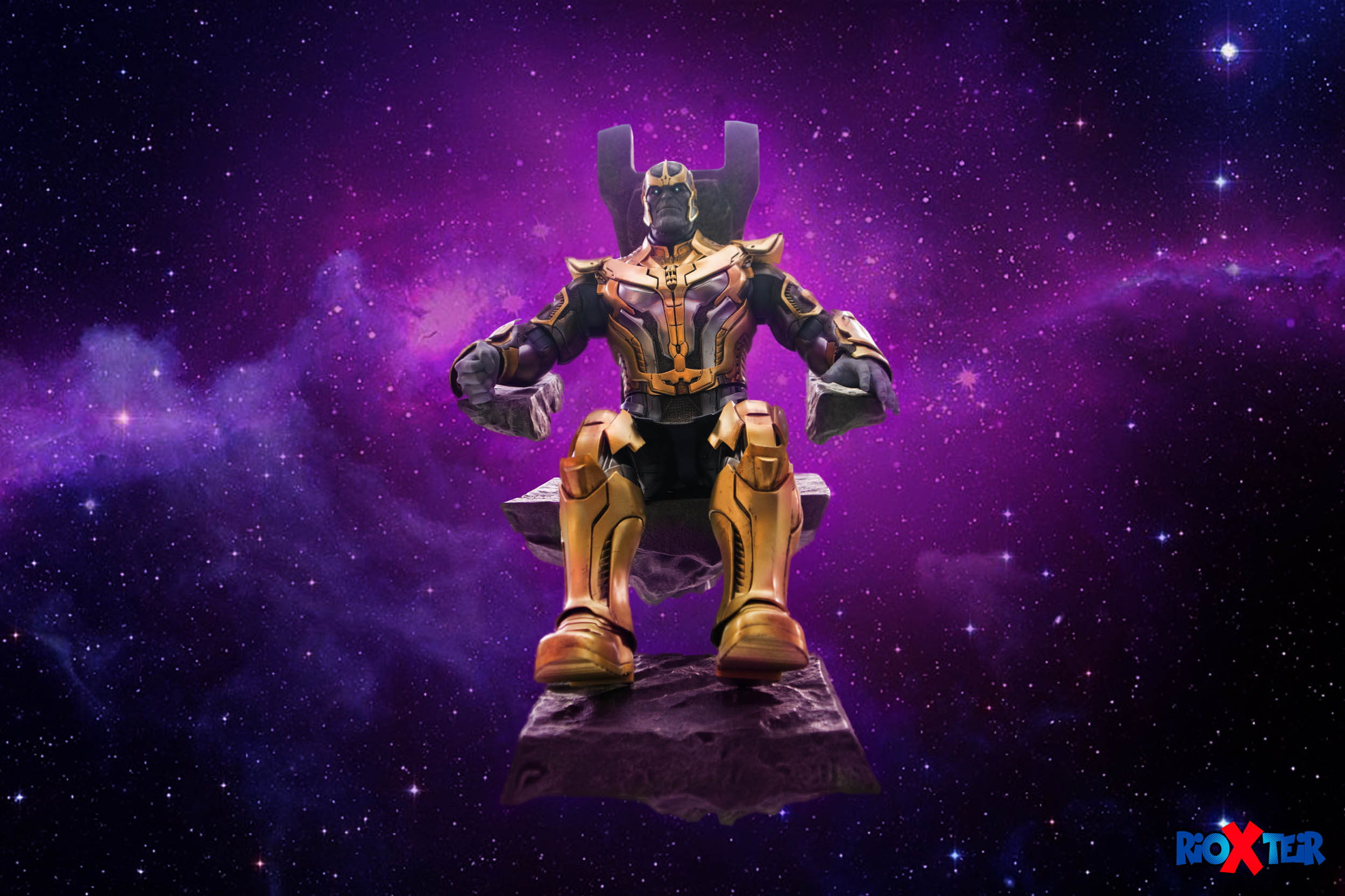 Hot Toys Thanos Guardians of the Galaxy sit in throne