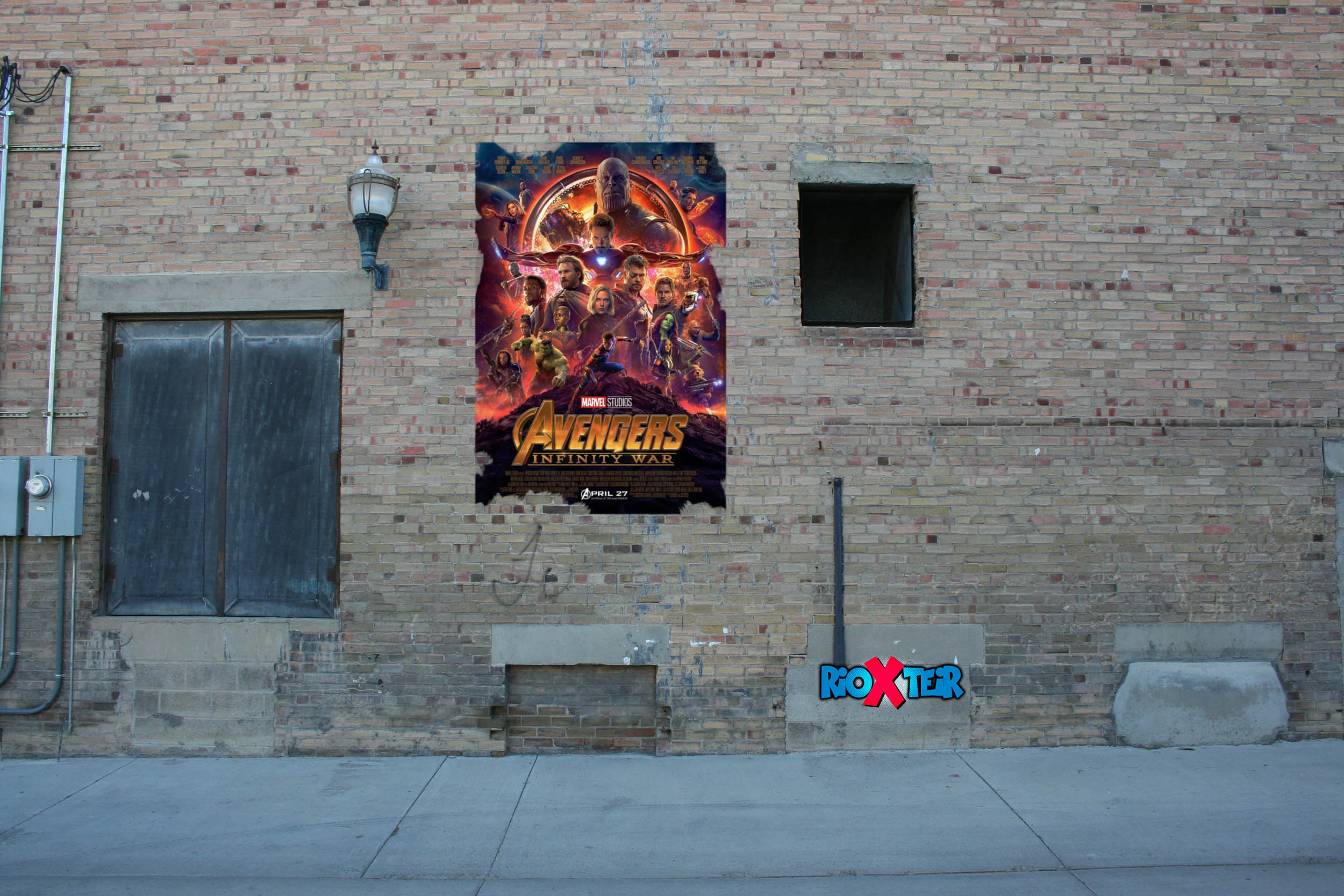 wall building with Avengers poster