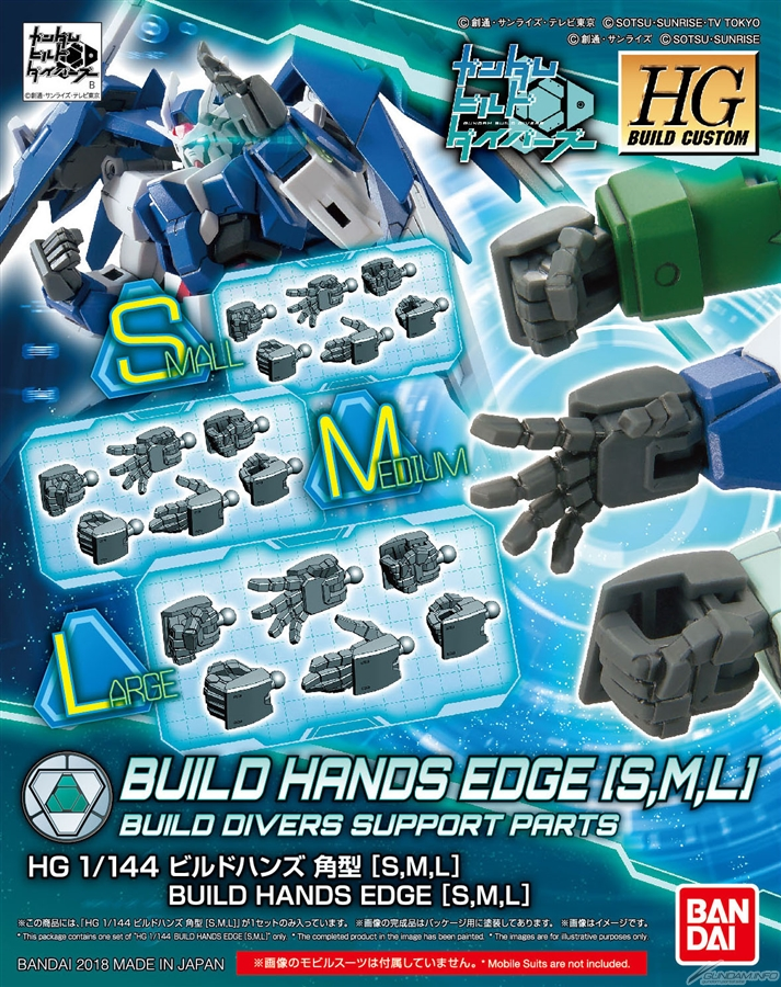 Bandai HGBC Build Hands Edge S M L
